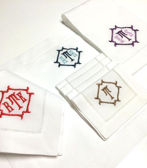 new! winslow monogrammed hemstitch linen napkins-cocktail napkins