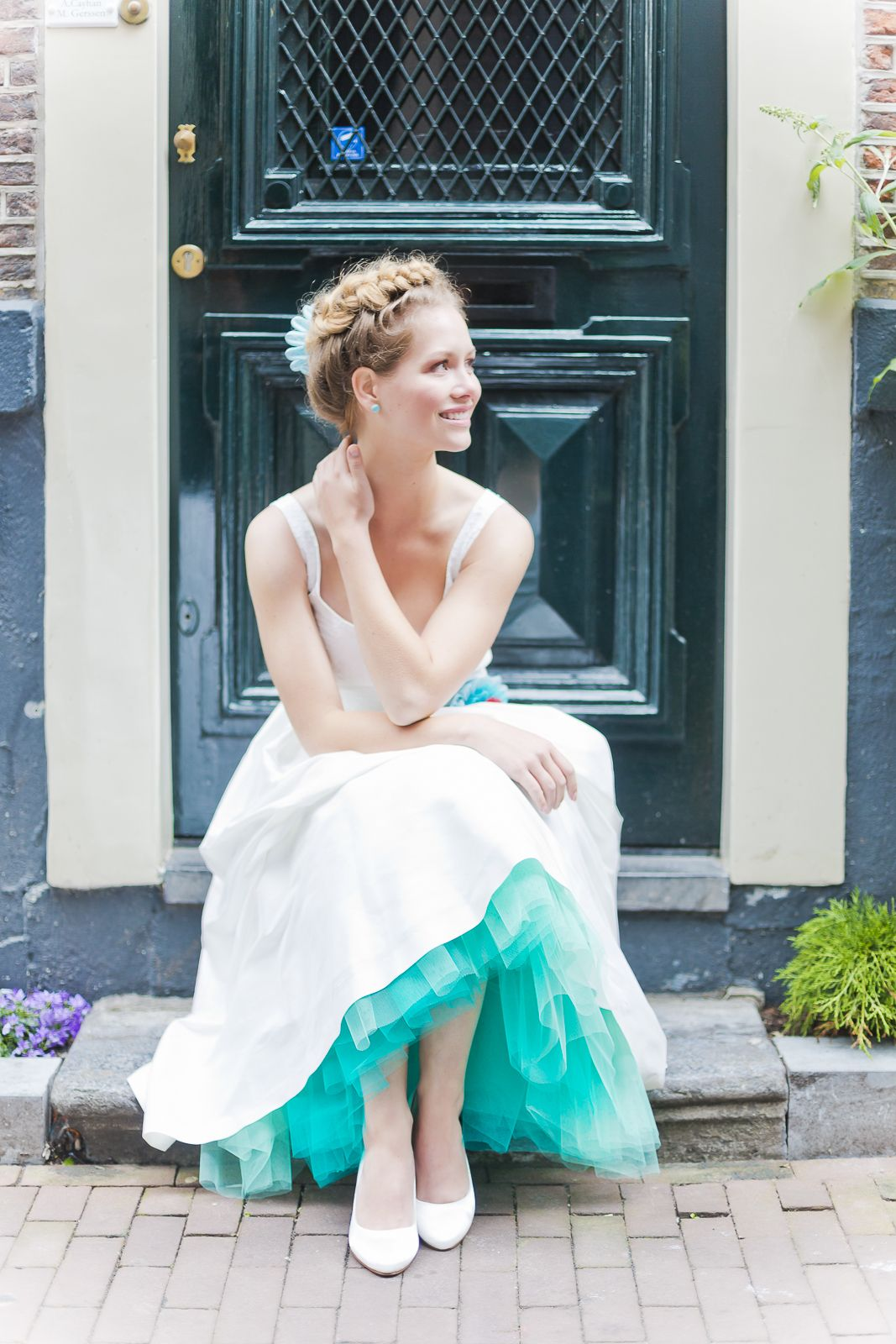 50er Jahre tea-length Brautkleid mit Petticoat in Türkis ...