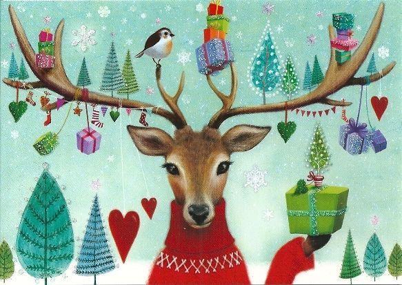 weihnachtskarte postkarte mila marquis hirsch. Black Bedroom Furniture Sets. Home Design Ideas
