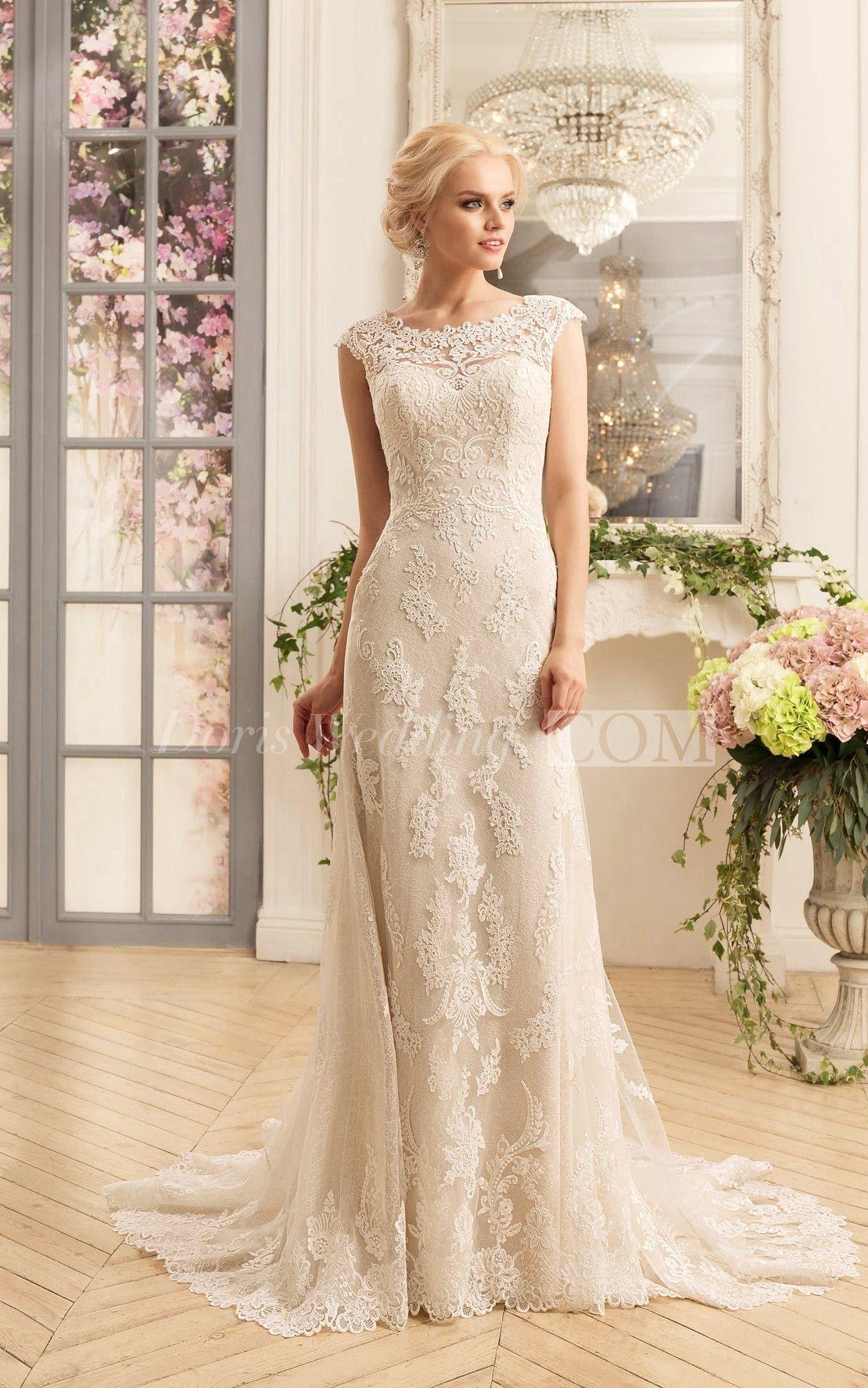 Illusion lace wedding dress  USuIllusion Back Sheath Lace Wedding Dress riswedding
