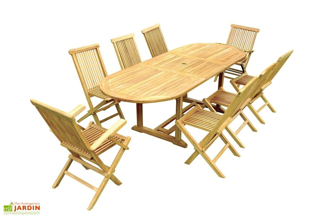 Salon De Jardin Teck Table Ovale 180 240 Cm 8 Assises Tuinsets