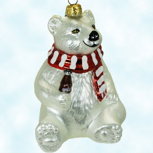 Polar Bear - Coca Cola, Polonaise Christmas Ornaments, 1996, GP630 GP 630, White and Red scarf, holding soda bottle, Mint with Tag, Box