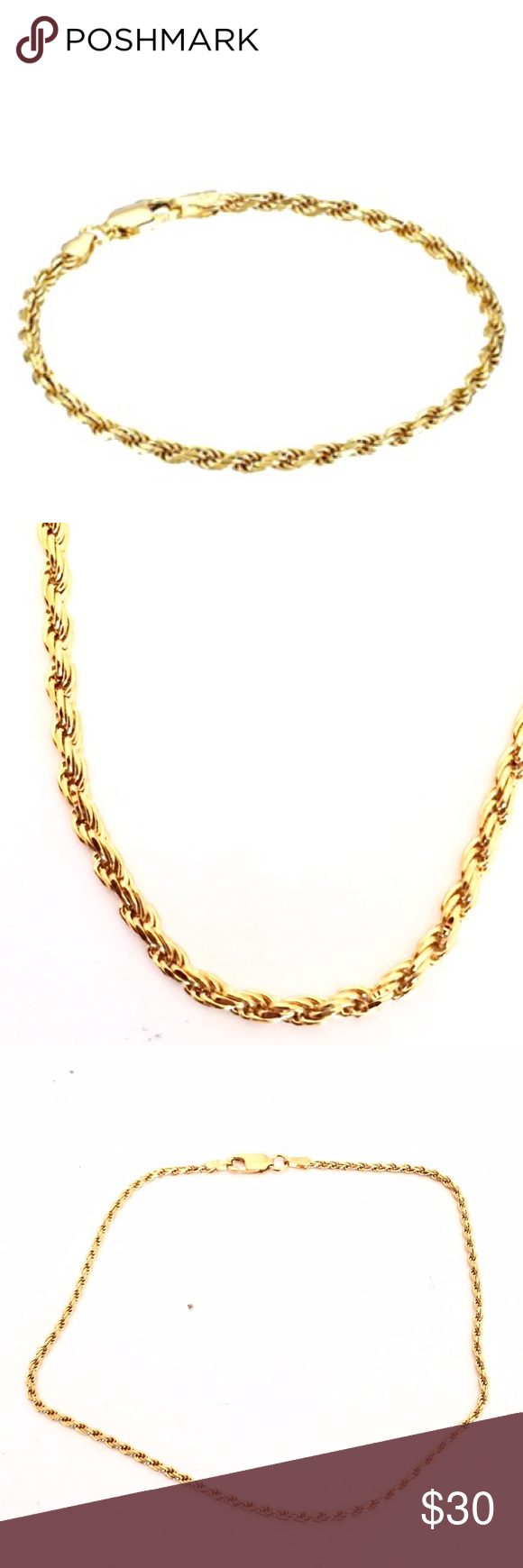 Sterling silver gold rope bracelet jewelry bracelets sterling