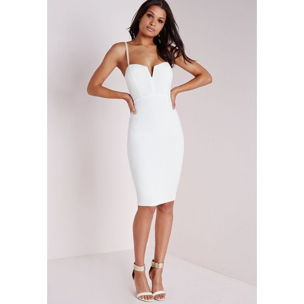 Missguided Plunge Zip Back Midi Dress ($51) ❤ liked on Polyvore featuring dresses, white, white midi dress, zipper back dress, structured midi dress, white plunge dress and plunge dress