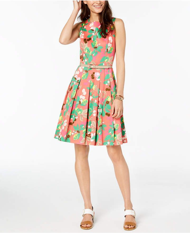 77037af8b99 Tommy Hilfiger Printed Fit & Flare Dress, Created for Macy's | Fit ...