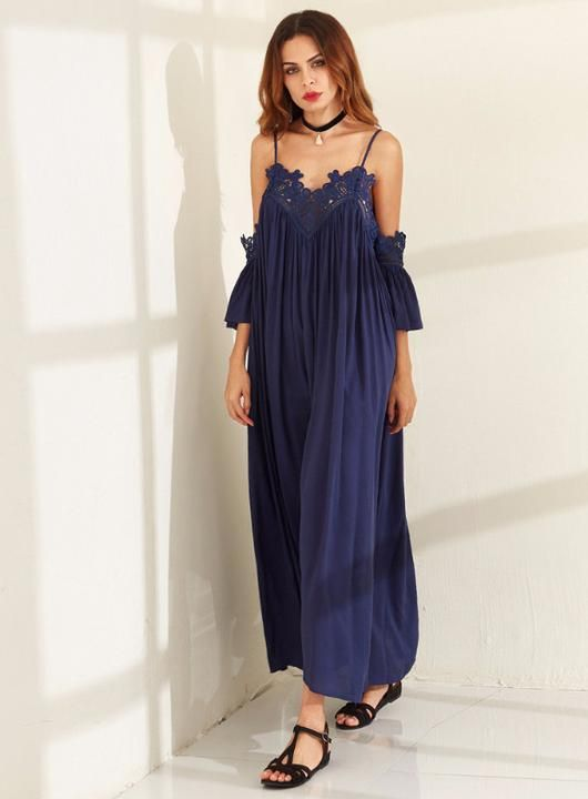 Navy Pleated Lace Dress