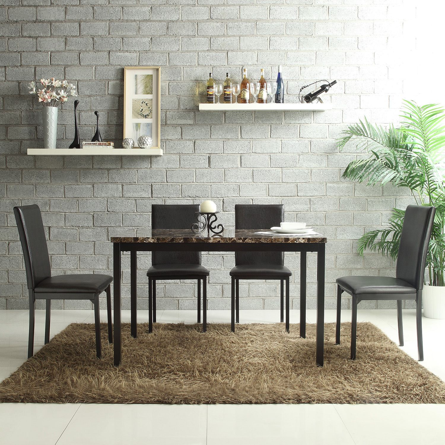 Darcy Faux Marble Top Black Metal 5-piece Casual Dining Set by iNSPIRE Q  Bold by iNSPIRE Q