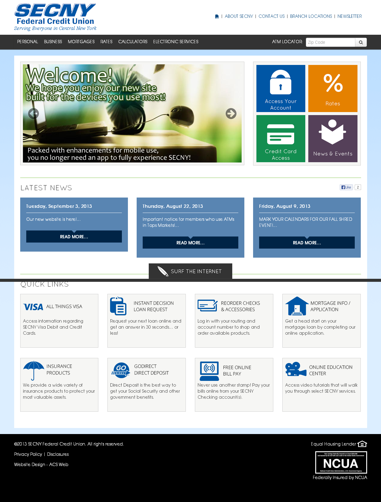 New Federal Credit Union Website Secny Visit The New Website At Secny Org Federal Credit Union Credit Union Banking Services