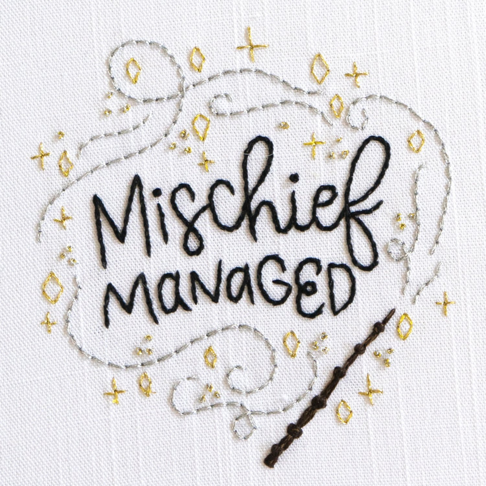 Mischief Managed Embroidery Pattern — Lady Scrib Design & Embroidery