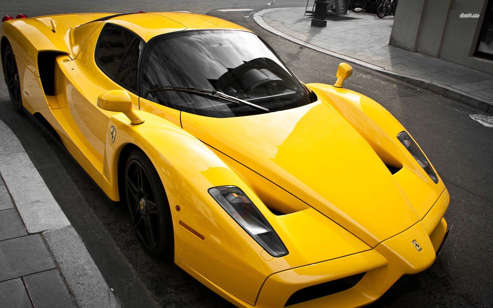 Http Cdn Desktopwallpapers4 Me Wallpapers Cars 1680x1050 5 52285 Yellow Ferrari Enzo At The Sidewalk 1680x1050 Car Wallpaper Ferrari Ferrari Enzo Ferrari Car