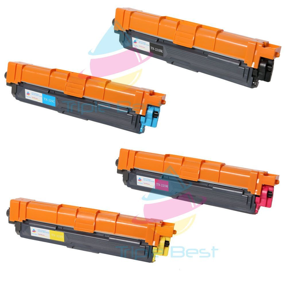 Set of 4 TN221 Black TN225 High Yield Cyan, Magenta & Yellow Compatible Laser Toner Cartridges for Brother