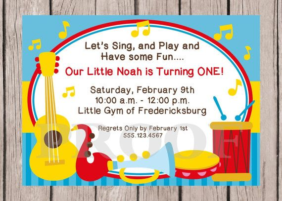 Music birthday party invitation drum music circle first birthday music birthday party invitation drum music circle first birthday invite drums shakers guitar digital file printable party invitations thecheapjerseys Image collections