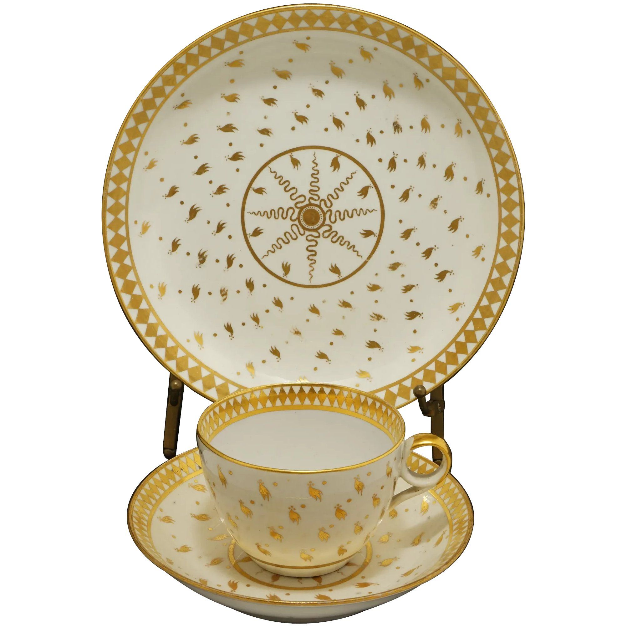 Georgian Spode Trio Hand Gilded Ermine Pattern Tea Cup Saucer Plate English Porcelain - pre 1833, England #teasets