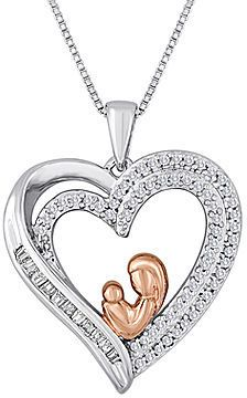 Fine jewelry 14 ct tw diamond two tone mom heart pendant fine jewelry 14 ct tw diamond two tone mom heart pendant necklace mozeypictures Images
