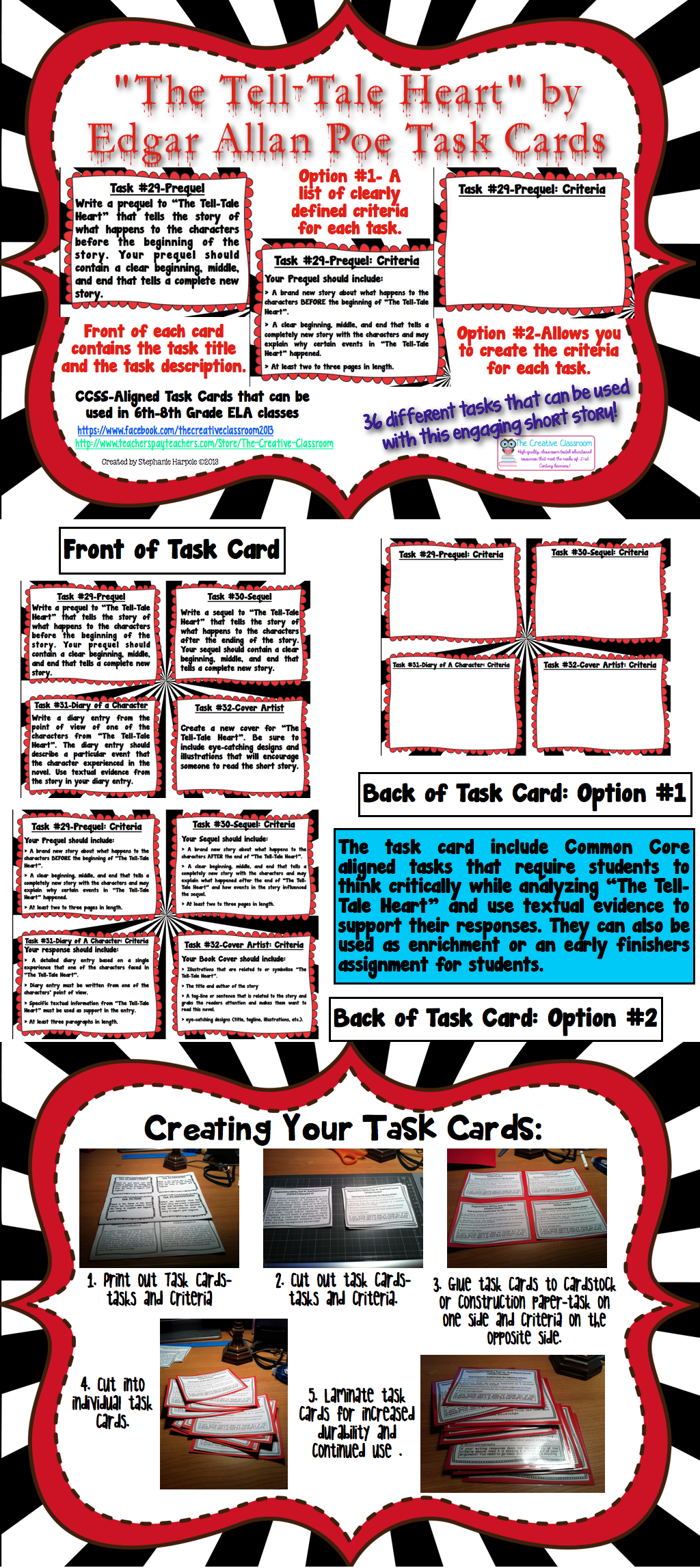 The Tell Tale Heart By Edgar Allan Poe Task Cards
