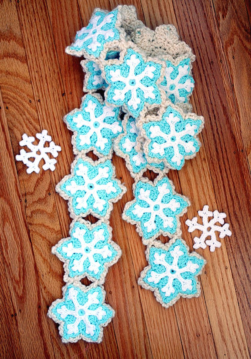 Snowflake Sugar Cookie Crocheted Scarf Instructions by Twinkle Chan ...