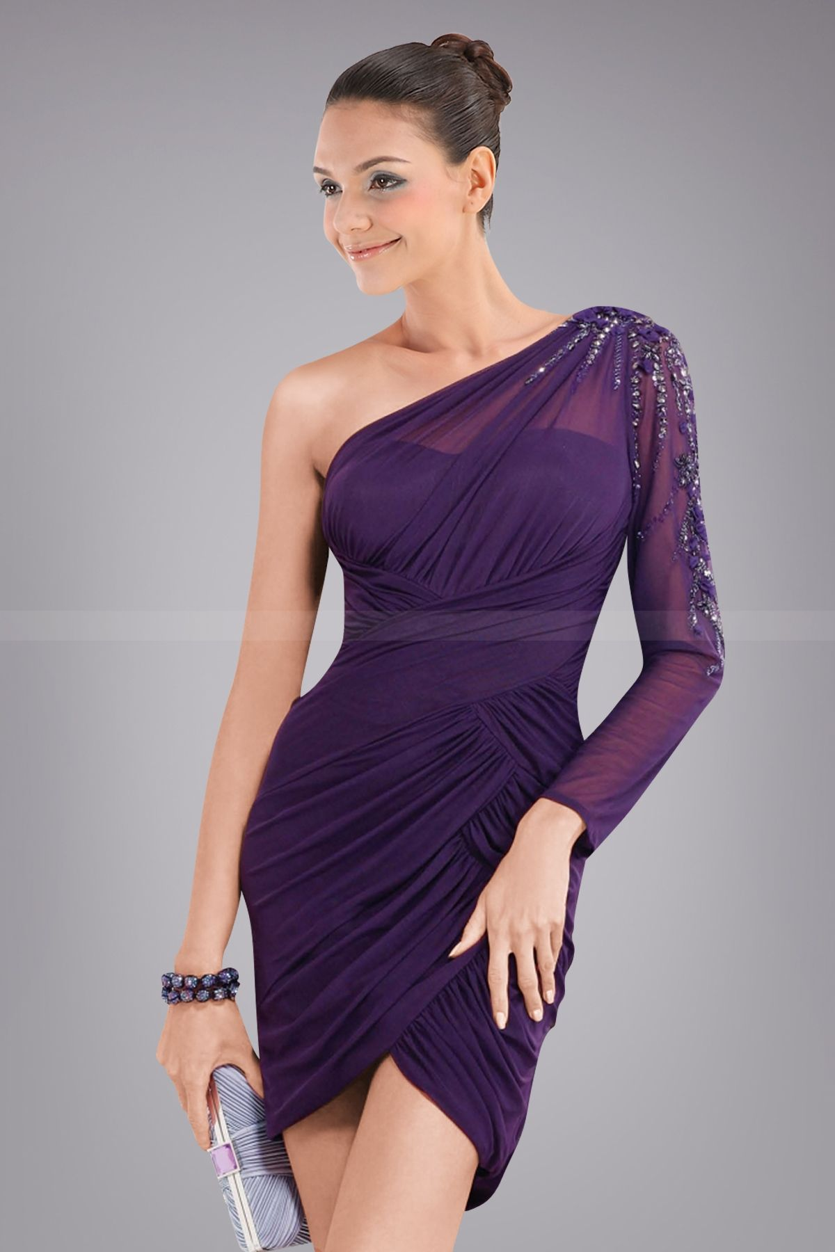 Plum One-shoulder Tulip Cocktail Dress with Sparkling Sequined ...