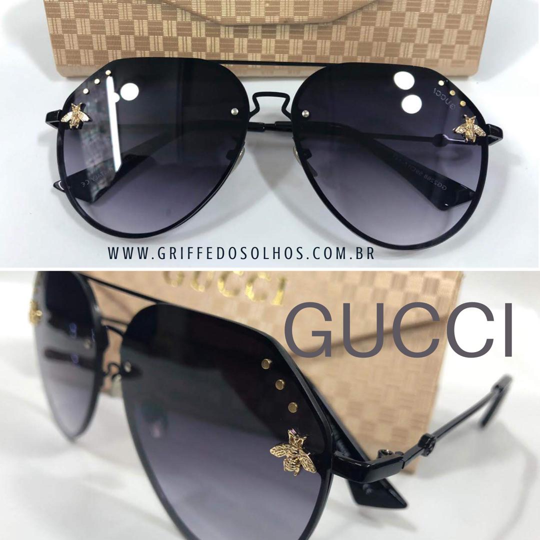 17ab4d681 Óculos de sol GUCCI ABELHA AVIADOR , com detalhes douradas. Com proteção  solar UV400,