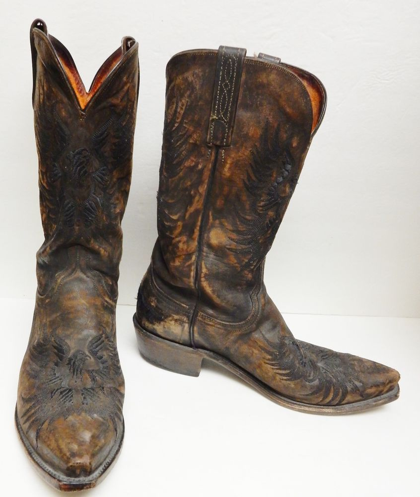 4f11510debf Details about 1883 LUCCHESE Brown Leather COWBOY Boots 11 D ...
