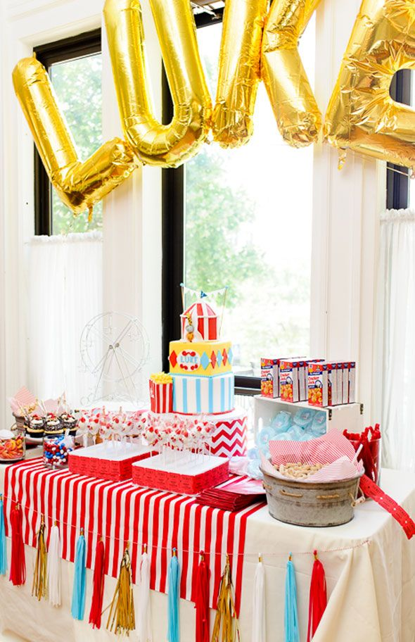 Self-adhesive Table Skirt Cover Stripe Circus Theme Baby Shower Party Decor