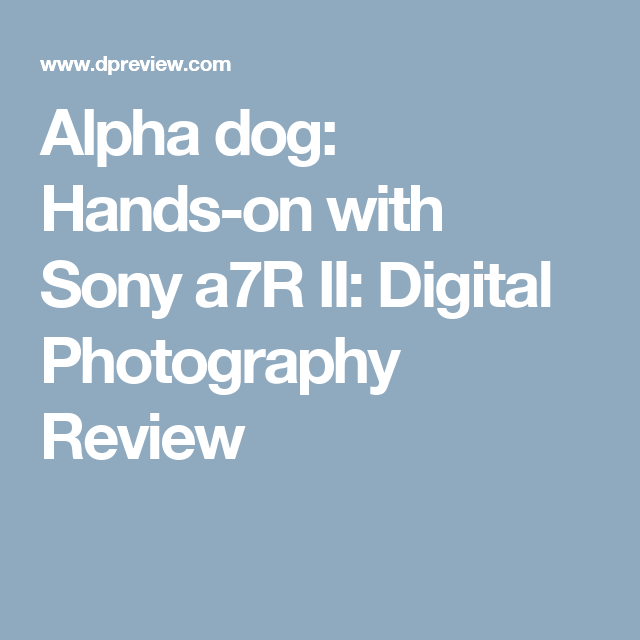 Alpha dog: Hands-on with Sony a7R II: Digital Photography Review