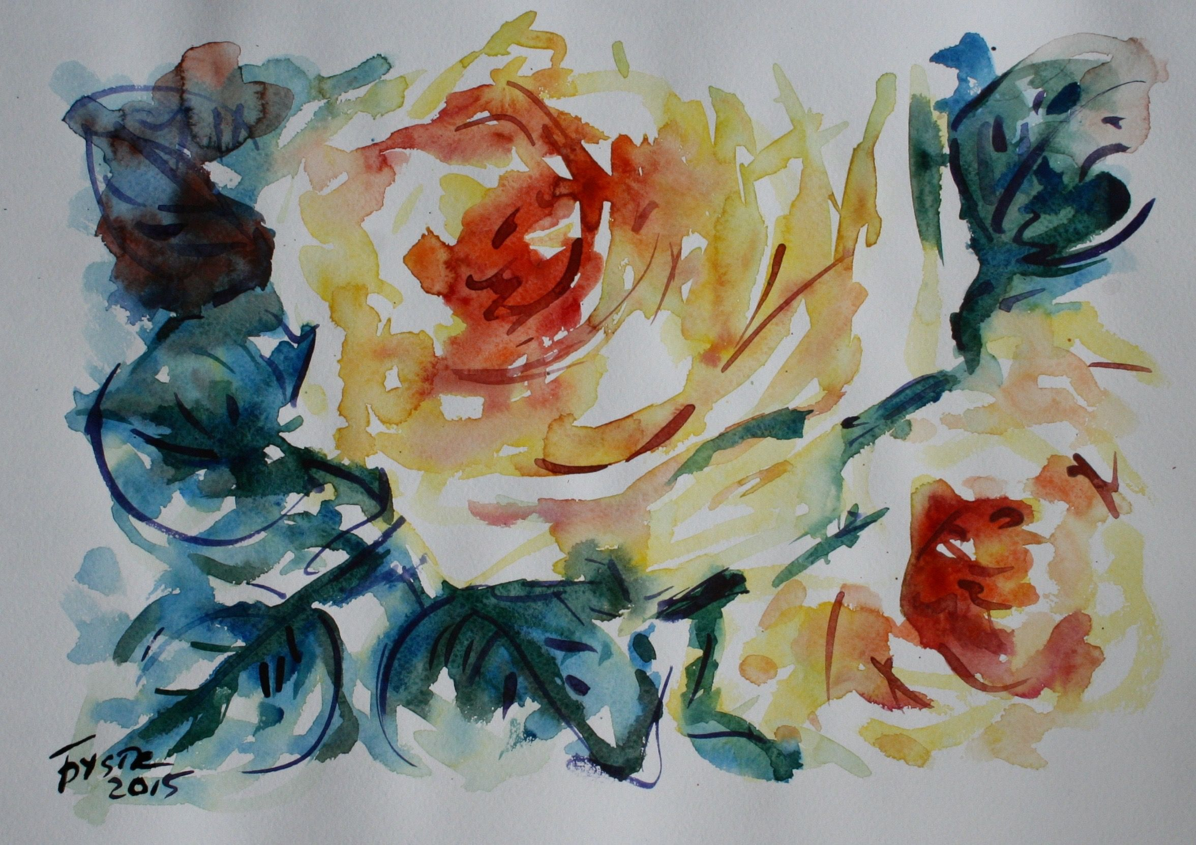 90 Rose Watercolor Painting Original Unframed Watercolor