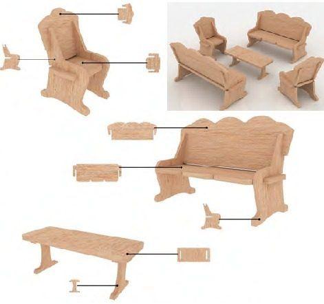 Muebles para casa de mu ecas mdf kit de muebles miniatura - Como hacer muebles para casa de munecas ...