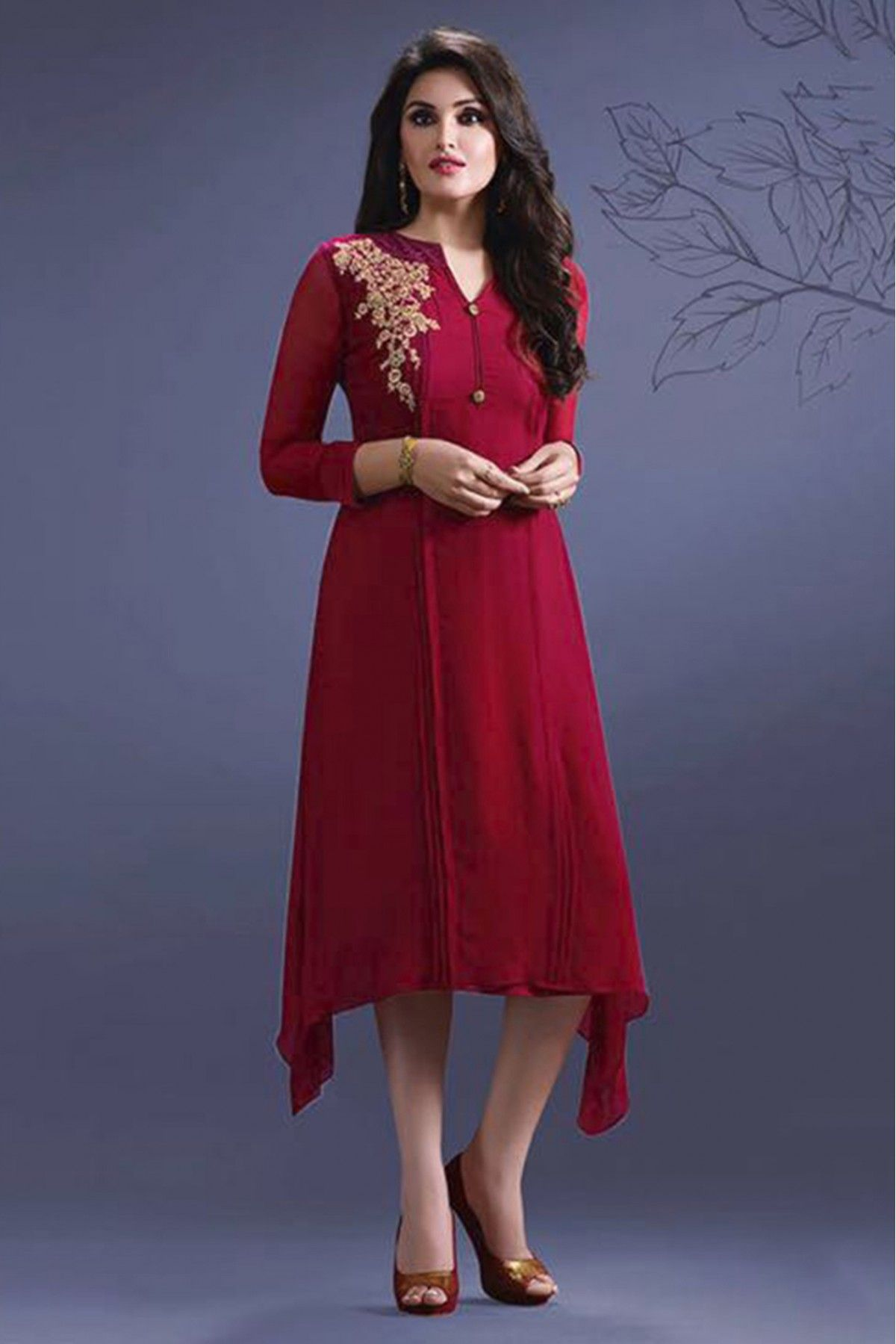 41b04b979 Georgette Party Wear Kurti In Red Colour. Maroon Color