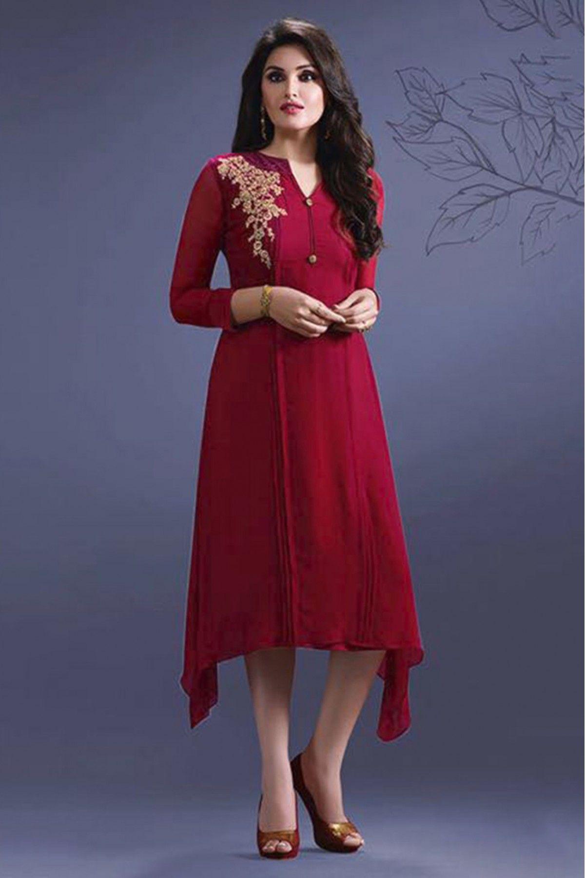 5ee0b94aee2f Georgette Party Wear Kurti In Red Colour in 2019 | Latest Party Wear Kurtis  Online | Kurti, Indian designer wear, Embroidered kurti