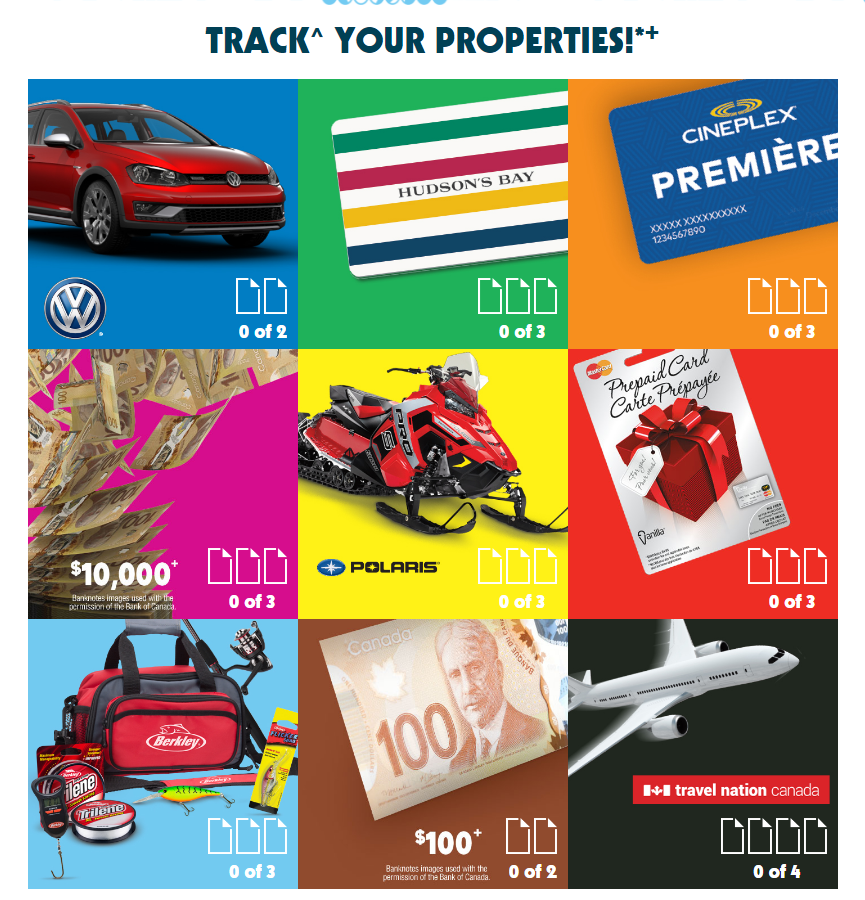 McDonalds MCDPromotion.ca Contest Track Monopoly Game