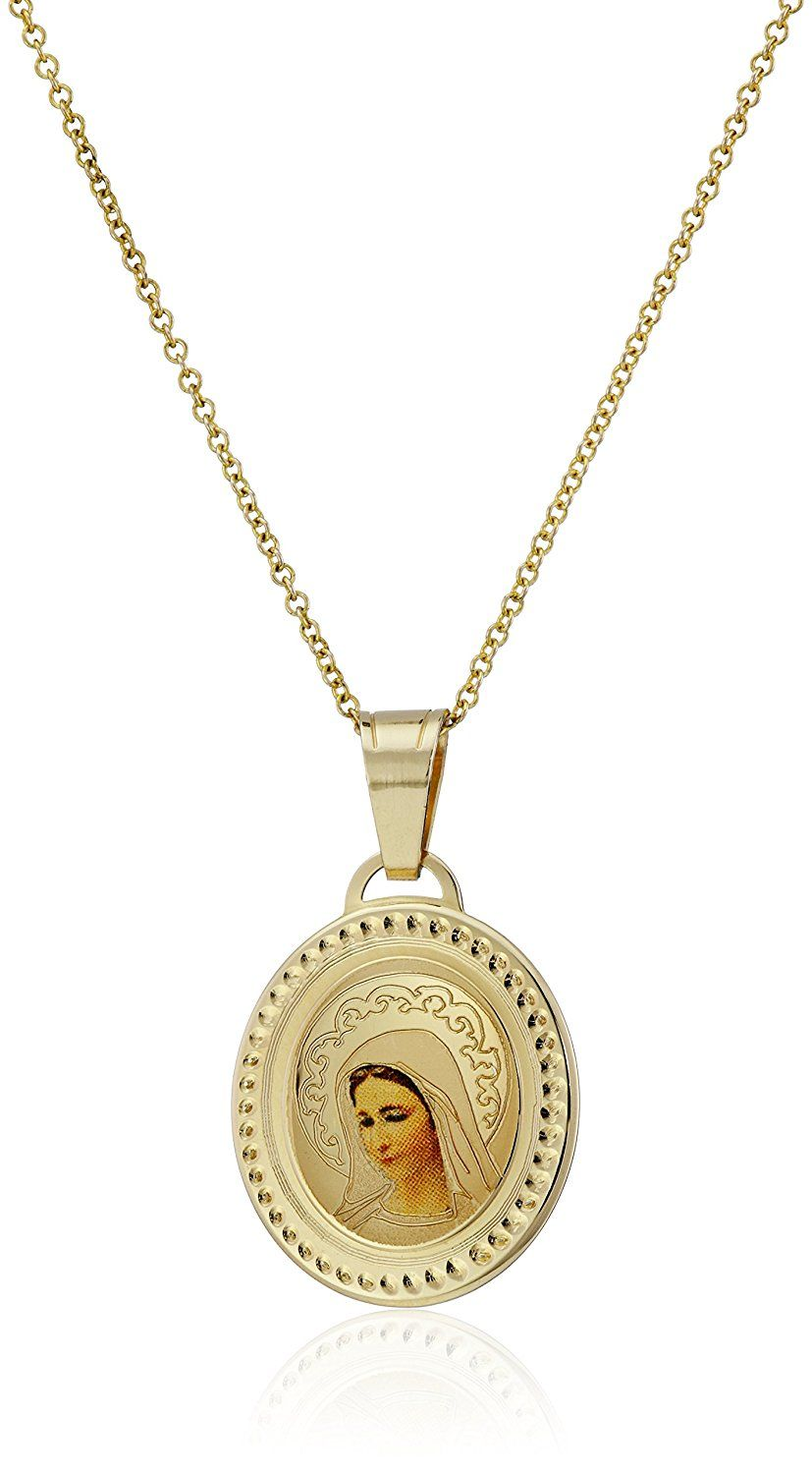 K yellow gold blessed virgin mary oval picture medal necklace