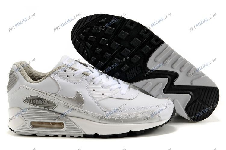 white and silver air max 90