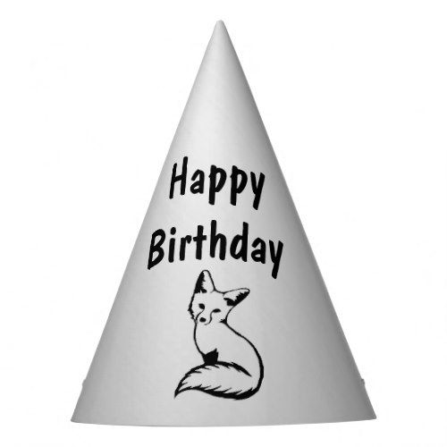 Silver Fox Birthday Party Hat