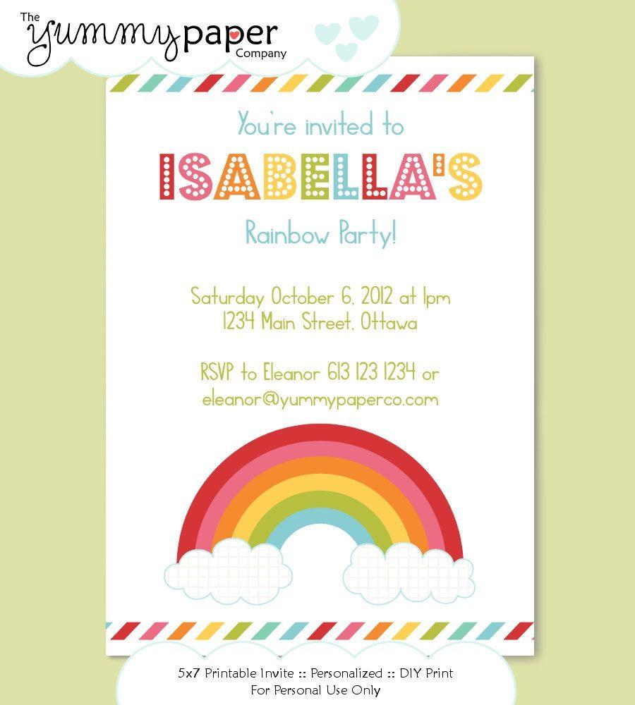Modern Rainbow Party Invitation - Personalized Birthday Printable ...