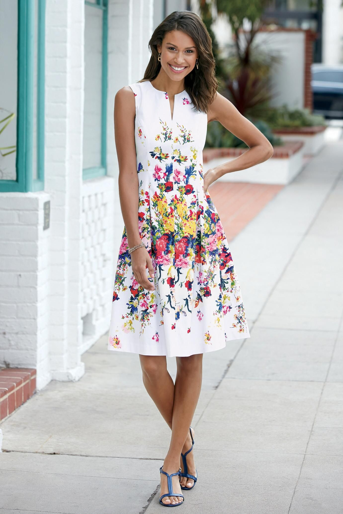 8960f900a1ae White Floral Print Split Neck Fit & Flare Dress: Classic Women's Clothing  from #ChadwicksofBoston $59.99