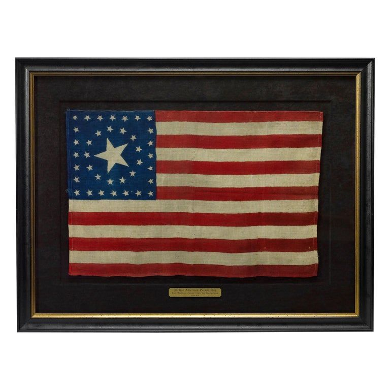 38 Star Antique American Flag With Unique Star Pattern Circa 1876 In 2020 Star Outline Flag Maker Star Patterns