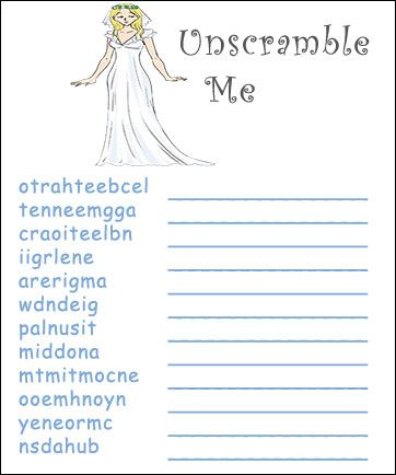 unscramble game unscramble game fun bridal shower