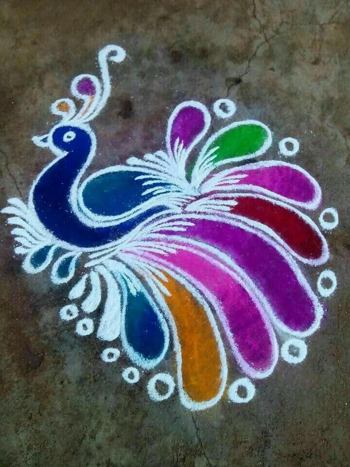 Another Beautiful Peacock Rangoli