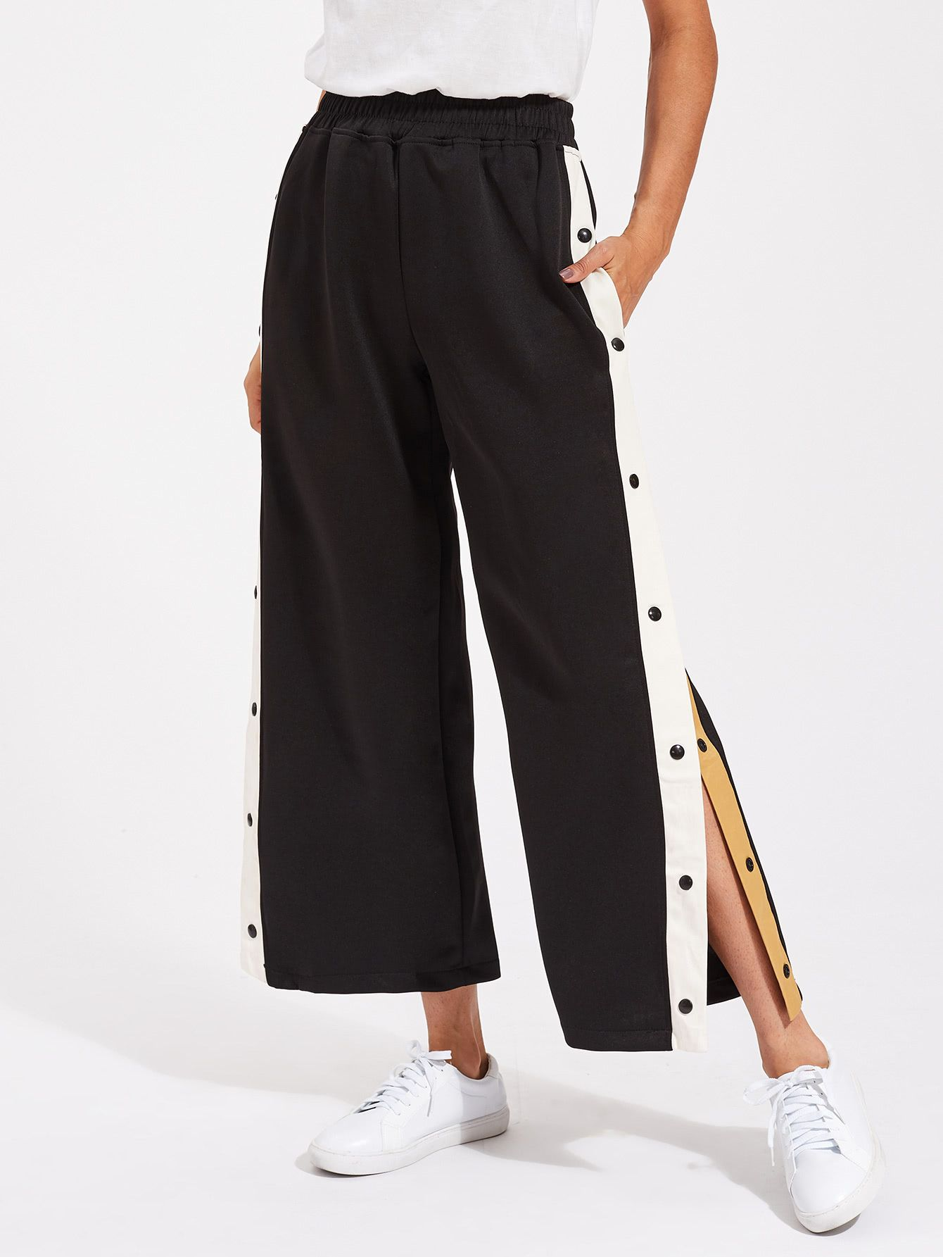 7724c26d11 Shop Contrast Snap Button Side Culotte Pants online. SheIn offers Contrast  Snap Button Side Culotte Pants & more to fit your fashionable needs.