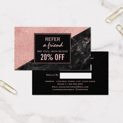 Referral card rose gold marble beauty salon custom makeup artist referral card rose gold marble beauty salon custom makeup artist gifts style stylish unique custom reheart Image collections