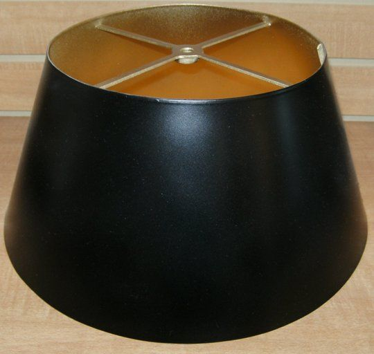 Black bouillotte metal lamp shade gold inside