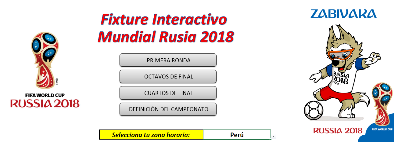 fixture mundial rusia 2018 en excel | Russia 2018 World Cup ...