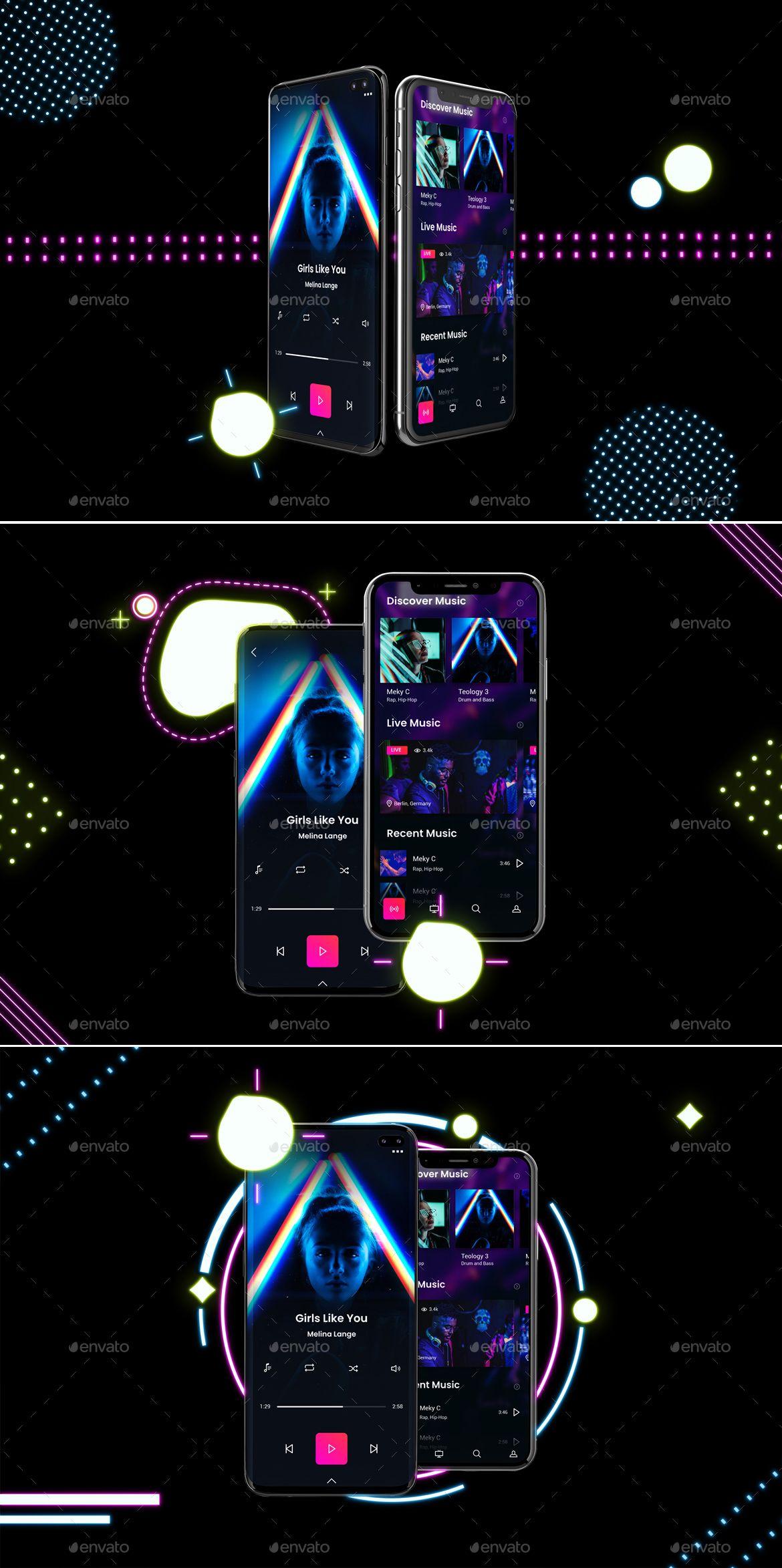 Neon IOS & Android Mockup Android mockup, Mockup, Neon