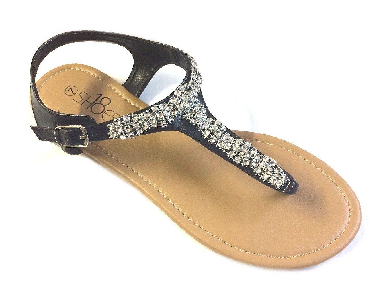 051e2fd3b Womens T Strap Gladiator Sandals Flats shoes W Iridescent Rhinestones (6