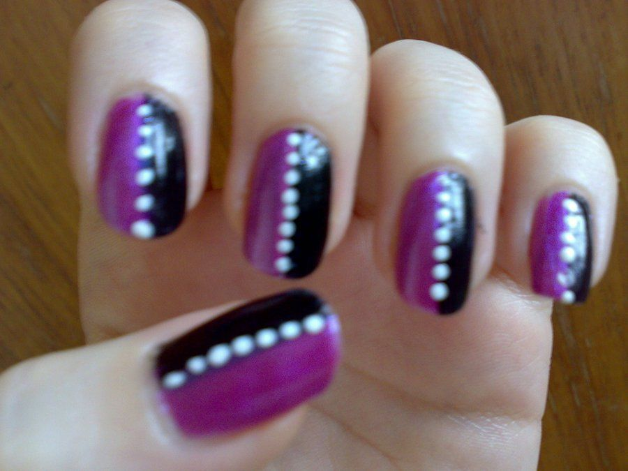 A nail art design I've painted on my own nails. A purple and black striped  design with contrasting white spot. | Nails | Pinterest - A Nail Art Design I've Painted On My Own Nails. A Purple And Black