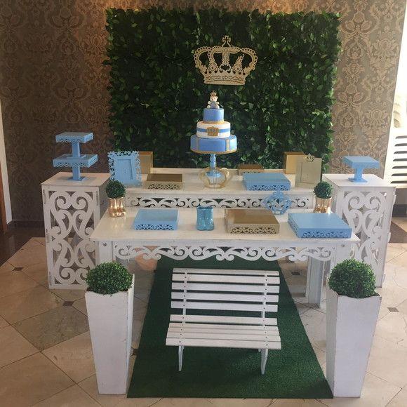 Kit Provencal Azul Com Dourado Nao Incluso Aluguel Do Bolo