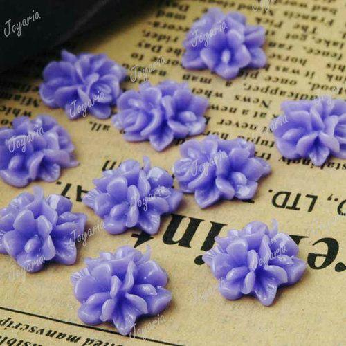 10pcs-15x15mm-Flatback-Vintage-Flowers-Cameo-Resin-Cabochons-Purple-RB0495