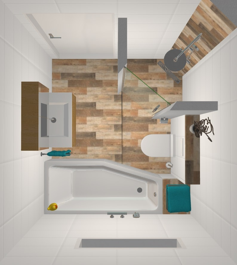 Photo of Small bathroom – Stretcher Tile House Stretcher Tile House