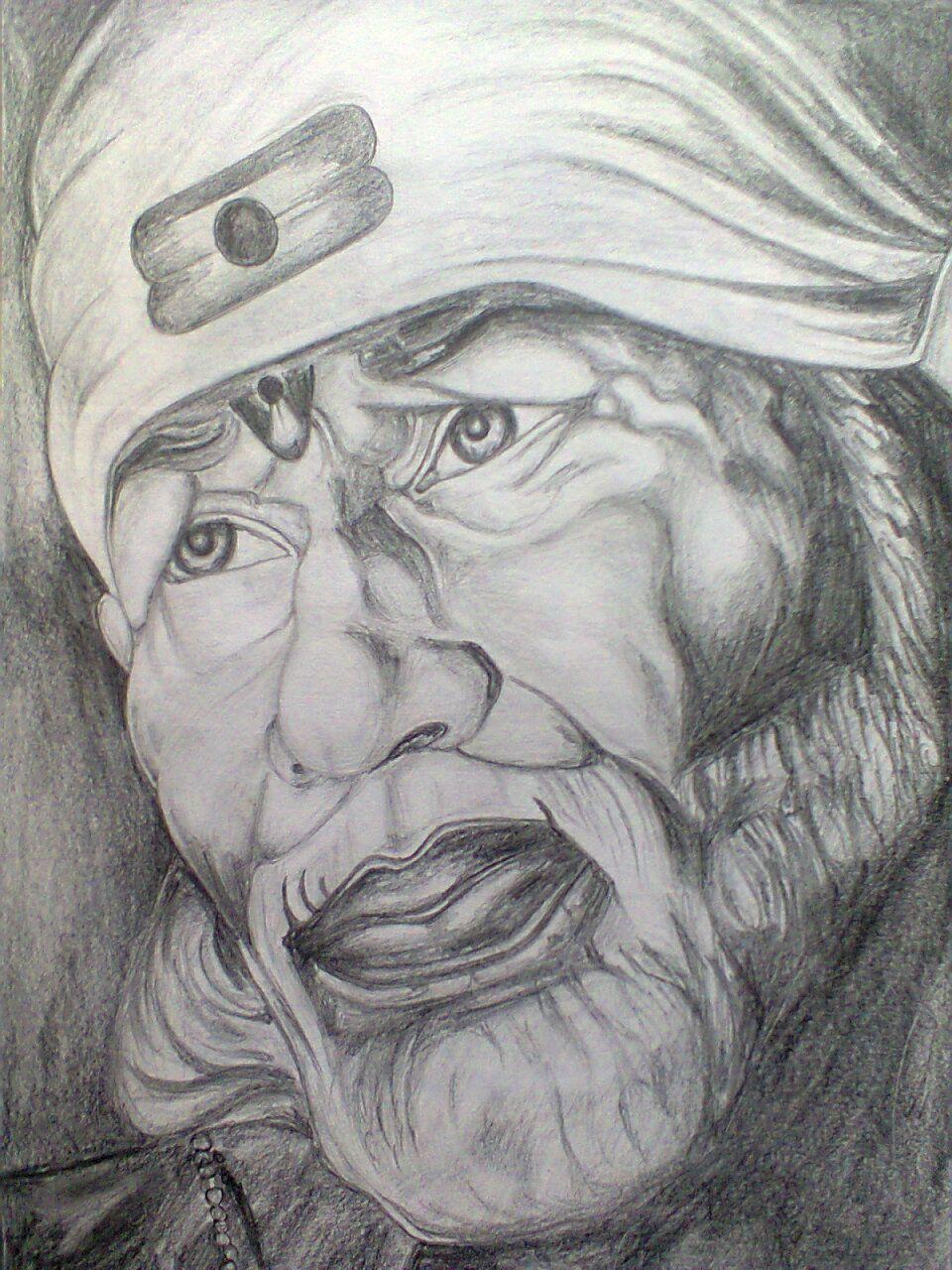 Sai Baba Pencil Sketch