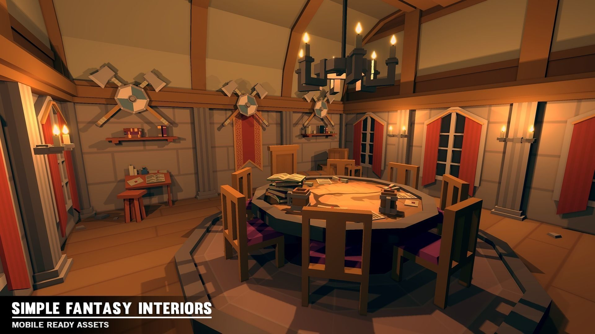 Simple Fantasy Interiors Cartoon Assets 3d Model With Images